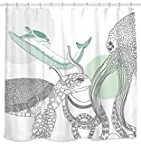Sunlit Designer Ocean Animals White Fabric Shower Curtain with Sea Turtle Whale Octopus Tentacles Marine Life Scenery Abstract Sketch Art - Green Gray Black
