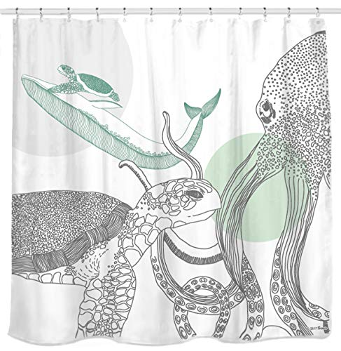 - Sunlit Designer Ocean Animals White Fabric Shower Curtain with Sea Turtle Whale Octopus Tentacles Marine Life Scenery Abstract Sketch Art - Green Gray Black
