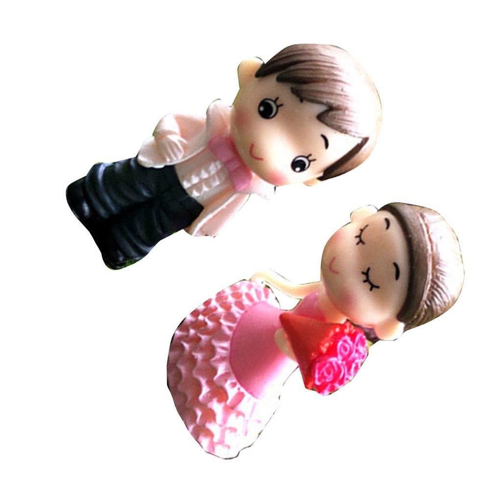 Uzinb Mari/ée et poup/ée de Mariage Groom Cartoon PVC Couple Figurines Miniatures g/âteau D/écoration de Bricolage Accueil Ornement