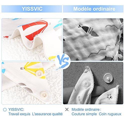 YISSVIC 7pcs Bavoir Bandana Bavoir B/éb/é Imperm/éables en Coton avec Boucle R/églable et Doublure pour Gar/çons et Filles 0-24 mois