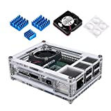 Miuzei Clear Case for Raspberry Pi 3 B+ with Fan and 3 Pcs Heatsinks for Rapsberry Pi 3 Model B+/3/3 Model B/2/2 Model B