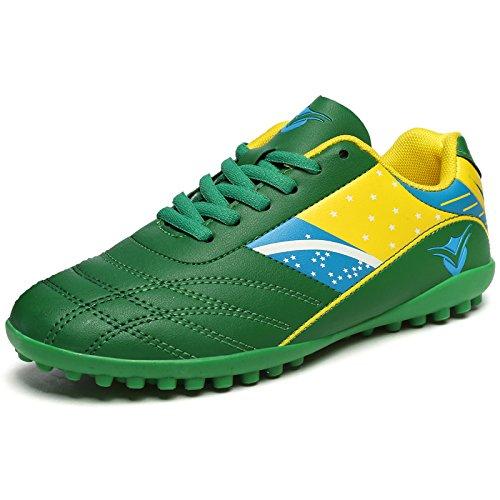 Xing Lin Botas De Fútbol Los Muchachos Y Las Muchachas De Las Zapatillas De Entrenamiento De Alumnos Varones Roto La Uña Del Pie De Cuero Zapatos De Fútbol De Césped Artificial green