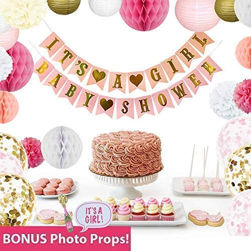 Sprinkleberry Baby Shower Decorations for Girl | Pink and Gold Party Decor | 44 Pcs Set with Bonus Photo Booth -