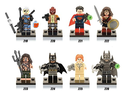 8 pcs Set Superman v Batman Figures Lot Bricks Blocks Toys Aquaman Wonder Woman