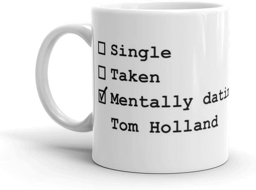 color blanco Taza de caf/é y t/é Lplpol Mentally Dating Tom Holland 325 ml