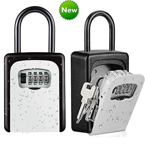 Key Lock Box [US Company] Wall Mounted Outside Combination Key Safe Box, Combo Door Locker, Weatherproof, 6 Key Capacity, Lockbox with Code for House Key Storage, for Home, Office, School Spare Keys