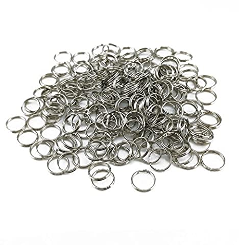 yueton Pack of 200 Nickel Plated Split Ring Chain Part for Connecting Lobster Clasp, Charms, Links and Other Jewelry (Dog Tag Chain Packs)