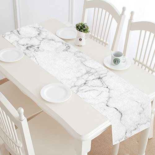 InterestPrint Antique White Marble Stone Table Runner Linen