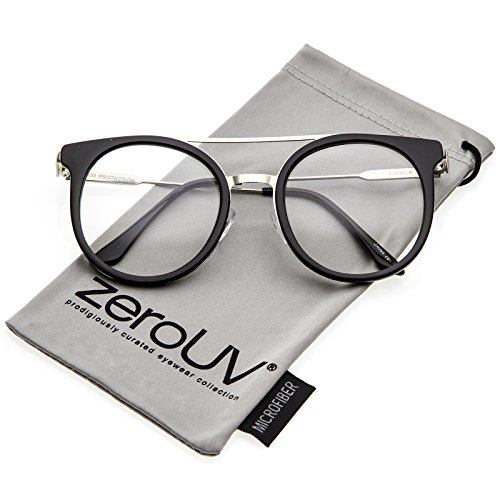 zeroUV - Horn Rimmed Double Nose Bridge Clear Lens P3 Round Eyeglasses 50mm (Black-Silver / - Parker Warby Warranty