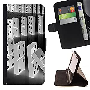 DEVIL CASE - FOR Samsung Galaxy S5 Mini, SM-G800 - Domino Black White Line Falling Numbers - Style PU Leather Case Wallet Flip Stand Flap Closure Cover