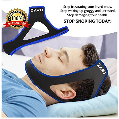 PREMIUM Anti Snore Chin Strap by ZARU [2018 UPGRADED VERSION] - Advanced Snoring Solution Scientifically Designed To Stop Snoring Naturally and Give You The Best Sleep of Your Life! (blue) (Chin Up Strips)