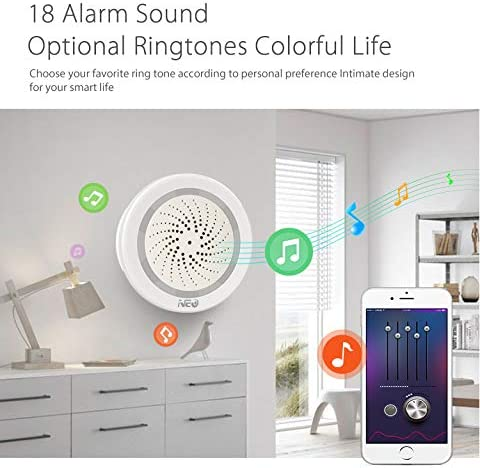 CYBERNOVA Upgraded WiFi USB Siren Alarm 3 in 1 Built in Temperature and Humidity Sensor,Workes with Alexa Echo and Google Home Speaker