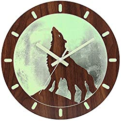 JoFomp Luminous Wall Clock, 12 Inch Night Light Function Silent Non-Ticking Wooden Wall Clocks, Battery Operated Decorative Wolf Moon Night Clock for Home, Living Room, Office (Wolf)