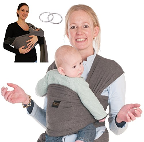 Brown Baby Sling - Baby Carrier Wrap Sling Ring - 2 Sling Rings added for Breastfeeding Mom - Large Pocket - Perfect Baby Shower Gift - Woven Cotton for Newborn, Infant, Toddler - Dark Grey