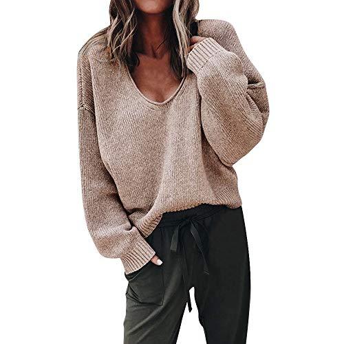 HANANei Women Sweater Fashion Autumn Deep V-Neck Long Sleeve Solid Color Sweater Blouse Plus (M, -