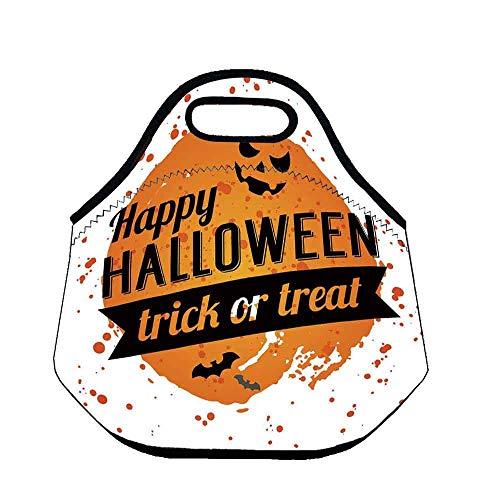 Halloween Lightweight Neoprene Lunch Bag,Happy Halloween Trick or Treat Watercolor Stains Drops Pumpkin Face Bats for Kids Nurse Teacher Outdoor,Throw(11.8''L x 6.3''W x 11''H)]()