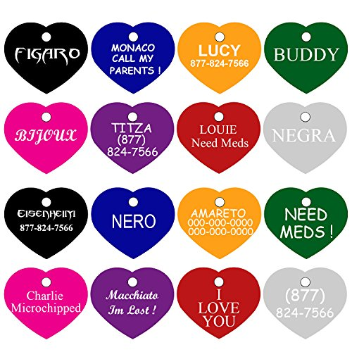 (CNATTAGS Pet ID Tags Many Shapes & Colors for Dogs and Cats Premium Aluminum (Heart) )