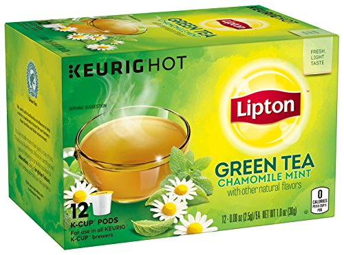 Lipton Green Tea K Cups, Chamomile Mint, 1.0 oz, 12 Count (Pack of 6)