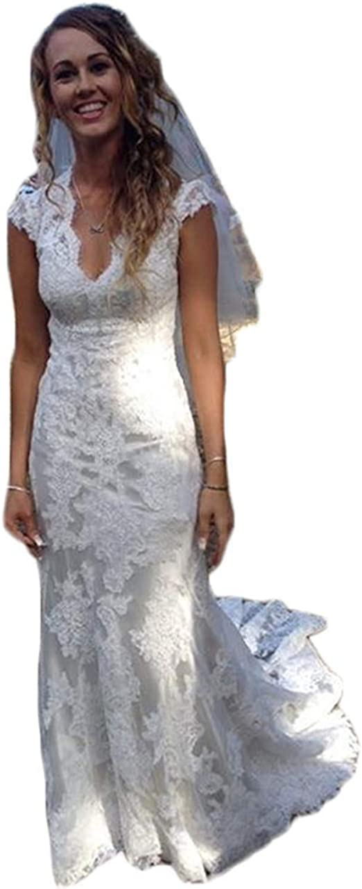 Vintage Lace Country Wedding Dresses For Bride A Line V Neck High Low Bridal Gowns 2019