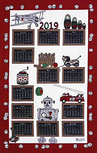 Beauvillé, Set of 2, 2019 Annual French 12 Month Calendar - Jouets (Toys)- French Kitchen/Tea Towel, Silk Screen Hand Printed, All in French