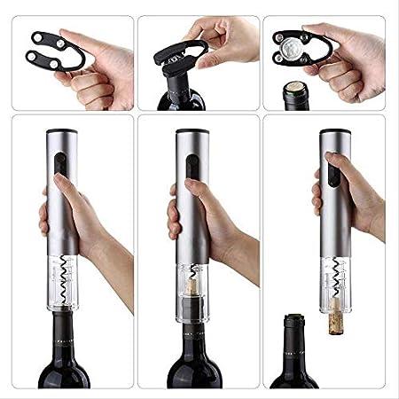 TETHYSUN Abrebotellas de vino Sacacorchos eléctrico automático abridor de botellas de vino Kit sacacorchos eléctrico con cortador de aluminio