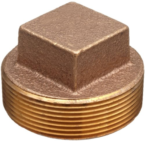 Lead Free Brass Pipe Fitting, Square Head Cored Plug, Class 125, 1