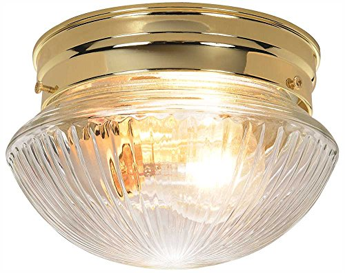 "Royal Cove Ribbed Mushroom Shaped Clear Glass Ceiling Fixture, 8"", White, Uses 1 60-Watt Incandescent Medium Base Bulbs"