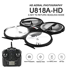 Arshiner U818A HD 2.4GHz 4CH 6 Axis Gyro Headless Mode RC Quadcopter Drone w/ HD 2MP Camera With Extra Battery and Return Home Function Black