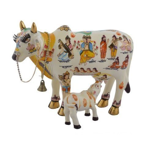 - Fashion Bizz Handcrafted Kamdhenu Cow with Calf (19Cmx12Cmx15Cm)