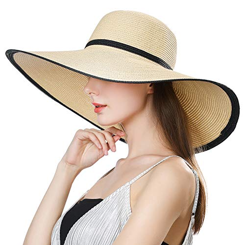(Siggi Summer Straw Panama Beach Floppy Sun Hat Round Wide Brim for Women Beige Medium)