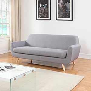 Mid Century Grey Linen Fabric Sofa and Love Seat (Sofa, Light Grey)
