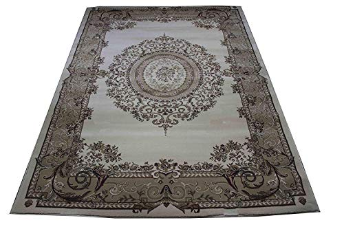 Large 8x10 Ivory Persian Traditional Style Rug Oriental Rugs Cream Living Room Rugs 8x10 Carpet (Tabriz 415 ()