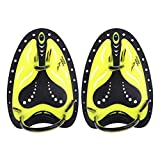 Alloet Unisex Swimming Paddles Training Silicone Hand Webbed Flippers(Yellow)(L)