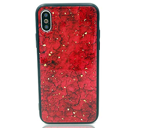 HUIYCUU Case Compatible with iPhone Xs Max Case, Glitter Rose Marble Design Shockproof TPU Soft Bumper Hard Back Cover for Girls Women Floral Glossy Pattern Gold Case for iPhone X Max Plus, Red