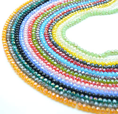 (Catotrem Faceted Glass Crystal Beads Strands Briolette Rondelle Crystal Beads Spacer for Jewelry Making 15 Colors 1425pcs 6MM)