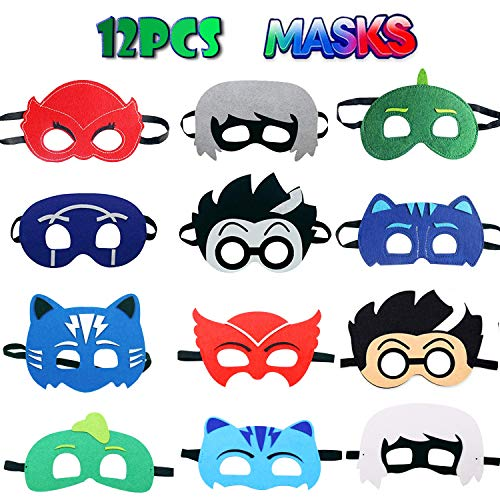 TEEHOME Cartoon Hero Masks Party Favors for Kid (12 Packs) with All Characters Catboy/Owlette/Gekko/Romeo/Night Ninja/Luna Girl - Birthday Party Masks for -