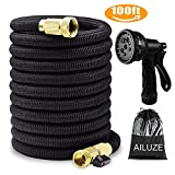Garden Hose 100ft,Portable Flexible Expandable Water Hose Pipe with 8 Function Spray Gun,Anti-Leakage Lightweight Easy Storage 3 Times Expanding Hose Extra Strong Fabric(Black