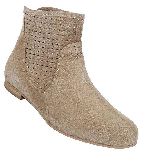 Damen Schuhe Stiefeletten Perforierte Leder Boots Hellbraun