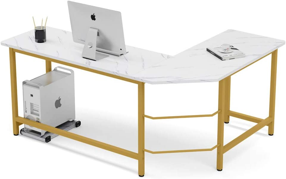 Tribesigns Modern L-Shaped Desk, Corner Computer Desk PC Laptop Gaming Table Workstation for Home Office, White Faux Marble/Gold Metal Frame