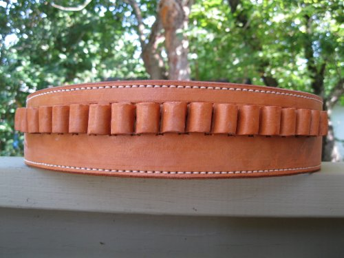 "50"" Natural Genuine Leather .45 Caliber Cartridge Gun Belt"
