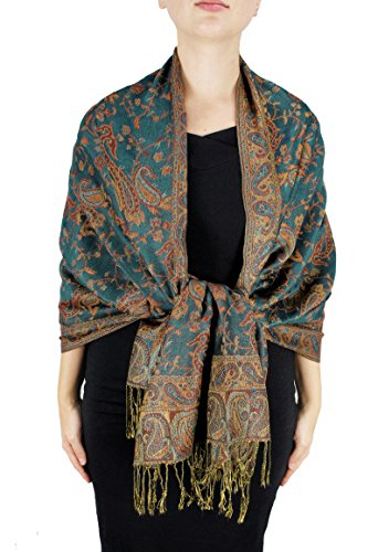 Peach Couture Elegant Double Layer Reversible Paisley Pashmina Shawl Wrap Green and Gold Scarf