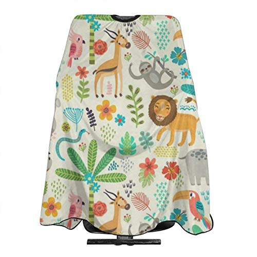 Animal Tropical World Tiger Floral Flowers Giraffee Lion Salon Barber Cape Hairdressing, Hairdresser,Cutting Hair Waterproof Cloth Salon Hairdressing Hair Styling Gown Apron Cape for Adult/Women/Men