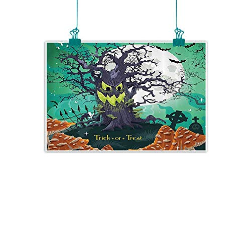Halloween Wall Art Decor Poster Painting Trick or Treat Halloween Theme Dead Forest with Spooky Tree Graves Big Mushrooms Kids Cartoon Decorations Home Decor 24