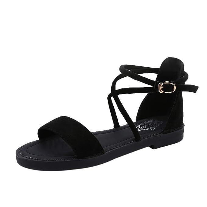 f7ee7f5ea43 Yesmile Sandalias para Mujer Zapatos Casual de Mujer Sandalias de Verano  para Fiesta y Boda Sandalias Planas de Correas Cruzadas Zapatillas de Tacón  Zapatos ...