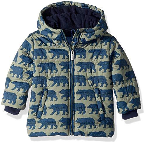 Hatley Boys Fleece Lined Puffer Coats, Black Bears, 7 Years