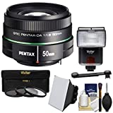 Pentax 50mm f/1.8 DA SMC Lens with 3 UV/CPL/ND8 Filters + Flash + Diffuser + Soft Box Kit