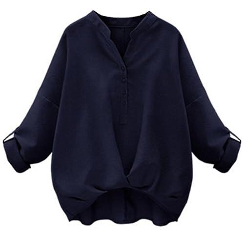 Aivosen Camisetas Mujer Tallas Grandes T Shirt Cmisetas Con Manga Larga De Color SÓLido Ocasional El...