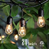 SHINE HAI 48-Foot Outdoor Weatherproof Commercial Grade String Lights with 24 Hanging Sockets- 26 11S14 Incandescent Bulbs Included-Perfect Patio Lights & Party Lights-Black