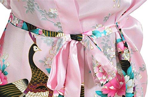 Feoya Peignoir Femme Satin Pyjamas robe Court Kimono - Rose