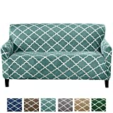 Great Bay Home Modern Velvet Plush Strapless Slipcover. Form Fit Stretch, Stylish Furniture Shield/Protector. Magnolia Collection Strapless Slipcover Brand. (Sofa, Aqua)